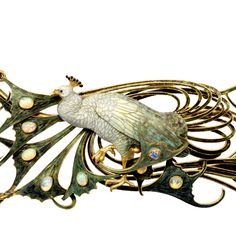 René Lalique, Peacock Pectoral, 1898-1900. Gold, enamel, opals, diamonds. France