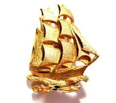 Vintage Ship Brooch, Gold Sailboat Pin