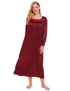 fefbf0aec2f Ekouaer Long Satin Nightgowns Sleepwear Dress Women Long Sleeve Lace Trim  Ruffles Loose Nightgown Chemise Night Dress Plus Size