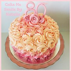 3 Layer pink ombré rose buttercream vanilla cake with handmade fondant toppers and roses. By Natalie Baxter. Cake Me Smile By Natalie https://m.facebook.com/Cake-Me-Smile-by-Natalie-965591876858656/