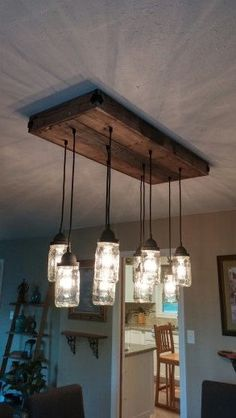 10 Jar Rustic Chandelier clear mason jar.