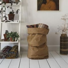 Uashmama Washable Paper Bags available in the UK through The Future Kept. Paper bags that feel like leather, wash like a fabric, and flatten for easy storage. Linen Storage, Paper Storage, Storage Baskets, Bag Storage, Craft Materials, Soft Colors, Storage Solutions, Old And New, Modern Decor