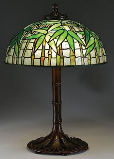 """** Tiffany Studios, New York, Favrile Leaded Glass and Patinated Bronze """"Bamboo"""" Lamp."""
