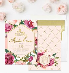 Burgundy, Blush Pink & Gold Baby Shower Invitation, Watercolor Flowers And Monogram, Roses Floral, Party Invite - Amelia by SeaPaperDesigns on Etsy https://www.etsy.com/listing/494423555/burgundy-blush-pink-gold-baby-shower