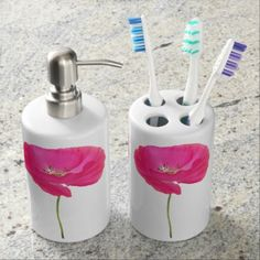 pink poppy soap dispenser & toothbrush holder - photography gifts diy custom unique special
