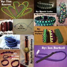 #MondayMedley !! Everybody share this photo to spread the work of our talented fanbase! This week's submissions come from: Caleb Mandrake, Esther Vandepeppel, Holli Hardesty, Ian Barkell, Jose Cisneros, Ronnie Laehn, Stephen Parker, Stephen Ritch, Steven Adams, Tim Reeves, and Troy Taylor. #paracord #mondaymedley #monday #medley #collage #cord #prepper #survival #bracelet #diy #tying #knotting