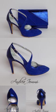 scarpe da cerimonia con borsa coordinata. #scarpe #cerimonia #blu #elettrico #andreaiommi