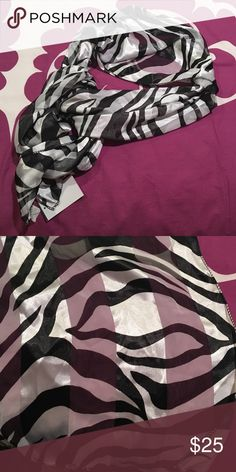 """Black & White Zebra Print Scarf Zebra print fashion scarf has alternating panels of sheer and silky fabric. 12"""" wide and approx 58"""" long. Accessories Scarves & Wraps"""