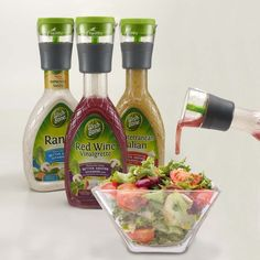 Pour one serving of salad dressing every time!  Fits most store-bought salad dressing bottles, use with:  Italian  Vinaigrette  Ranch  Balsamic and more    How to use:  Replace existing bottle lid with the Portion Control Dressing Lid.  Squeeze bottle to fill single-serving chamber.