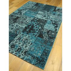 Tapis patchwork bleu. Collection VINTAGE. 160x230cm.