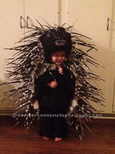 """I just imagine that every time this little boy was asked """"What are you going to be for Halloween?"""" he answered """"I'm going to be a porkiepine."""" Homemade Prickly Porcupine Costume for a Girl... This website is the Pinterest of costumes"""
