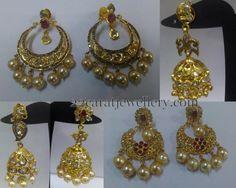 Jewellery Designs: Thin Uncut Diamond Jhumkas