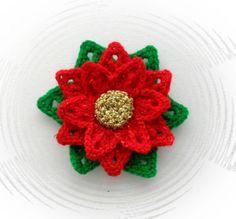 free crochet christmas flowers | ... flower christmas poinsettia flower ebay more crochet brooch 2 1