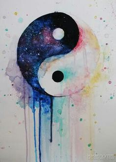 Yin Yang watercolor tattoo