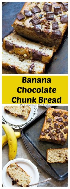 This banana chocolate chunk bread is a perfect way to use up all those ripe bananas. It's moist and fluffy with melted chocolate chunks bursting in each bite!