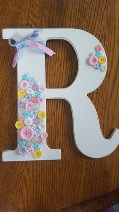 Custom orders button monogram letters nursery decor Check out this item in my Etsy shop https://www.etsy.com/listing/275558376/custom-orders-monogram-button-letter
