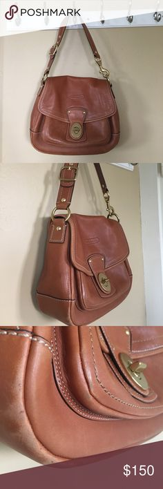 COACH Ali Shoulder Bag - Whiskey This bag was one of the most coveted when it was released. Beautiful distressed whiskey leather shows normal signs of wear which adds character to this sturdy, beautiful bag. Timeless whiskey leather is perfect for fall. Coach Bags Shoulder Bags