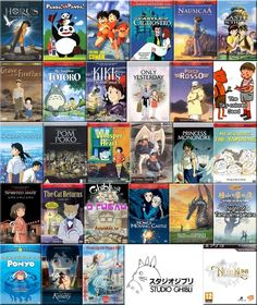 Studio Ghibli. Laputa: Castle in the Sky, Spirited Away, Princess Mononoke, Nausicaa of the Valley of the Wind, Kiki's Delivery Service, The Cat Returns, Grave of the Fireflies, Porco Rosso, The Secret World of Arrietty, My Neighbors the Yamadas, Tales from Earthsea, Night of Taneyamagahara, Whisper of the Heart, Pom Poko, Only Yesterday, Panda! Go Panda!, Ponyo on the Cliff by the sea, Horus: Prince of the Sun, Lupin III: Castle of Cagliostro, Howl's Moving Castle,My Neighbor Totoro