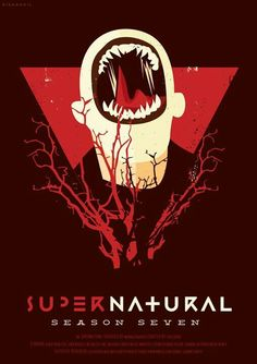 Supernatural Season poster: Fan art by Risa Rodil Supernatural Season 7, Supernatural Series, Supernatural Poster, Supernatural Cartoon, Supernatural Episodes, Destiel, Satan, Vertigo Poster, Impala 67