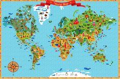 Illustrated world map by Marina Zlochin, via Behance