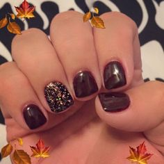 Fall gel manicure nail art