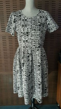 818b0e599670 NWOT Lularoe Amelia Black white Tribal Print XXL swing dress htf size 2XL |  eBay