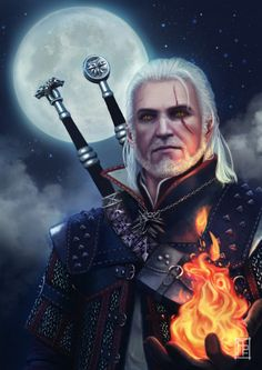 m Fighter Eldritch Knight Hvy Armor Dual Swords casting fire Night full moon Witcher lg The Witcher Books, The Witcher Game, The Witcher Wild Hunt, The Witcher Geralt, Witcher Art, Ciri, Game Character, Character Design, Character Ideas