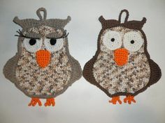 Ravelry: Owl Potholder Mr & Miss pattern by Paciuga Brega Imbelina Owl Crochet Patterns, Potholder Patterns, Crochet Owls, Baby Afghan Crochet, Crochet Potholders, Owl Patterns, Ravelry Crochet, Crochet Kitchen, Crochet Home