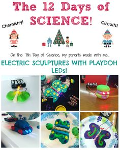 Did you know that you can use Playdough to conduct electricity? With this creative activity, you can bring the dazzling lights of the holidays into your home with science, chemistry, and electrical engineering! Safe for toddlers and kids alike!