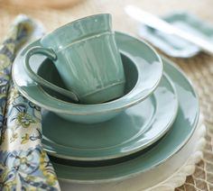 Cool blues — our Cambria Dinnerware in brilliant turquoise.