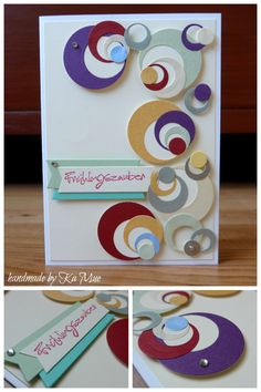 handmade card ... fun mod look of punched and die cut cirtles ...