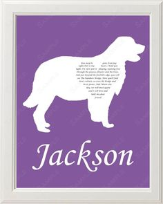 Golden Retriever Silhouette Pet Memorial Love Poem Gift 8 X 10 Dog Memorial Print