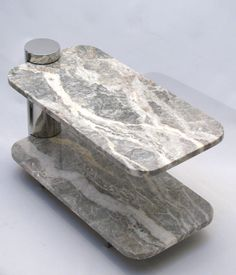 Cantilevered Marble and Polished Steel Side Tables by Brueton image 5