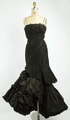 """BEAUTIFUL gown! PERFECT for the Old Governor's Mansion's Annual Gala, """"Masquerade at the Mansion.""""  Dress (Ball Gown)  House of Balenciaga (French, founded 1937)  Designer: Cristobal Balenciaga (Spanish, 1895–1972) Date: 1951 Culture: French Medium: silk, cotton"""