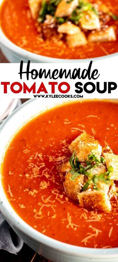 A bowl of creamy homemade tomato soup from scratch this easy soup recipe can be made from pantry staples and FAST! Serve with grilled cheese and make it a meal! Easy Homemade Tomato Soup, Canned Tomato Recipes, Easy Tomato Soup Recipe, Best Tomato Soup, Vegan Tomato Soup, Homemade Vegetable Soups, Homemade Recipe, Tomato Tomato, Crockpot Tomato Soup