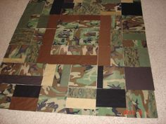 Cammy quilt made from uniforms worn in Iraq (with a few additional pieces).