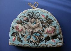 ANTIQUE VICTORIAN ALL BEADED TEA COSY, TEA COZY. LILIES. BEAUTIFUL COLOURS.