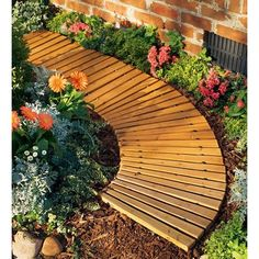 Portable Roll Out Curved Cedar Garden Pathway – Plow & Hearth, Brown - DIY Garden Deko Cedar Garden, Diy Garden, Wooden Garden, Garden Paths, Lawn And Garden, Garden Ideas, Garden Villa, Garden Borders, Garden Bed