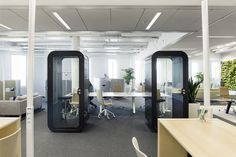 Framery O phone booth offers privacy to make phone calls free of interruptions in an activity based office environment. Due to great sound insulation booth can be placed right next to the work station. The acoustic felt and the acoustic sheet made of recycled rubber fibre in the interior absorb sound, making the space also echo-free.