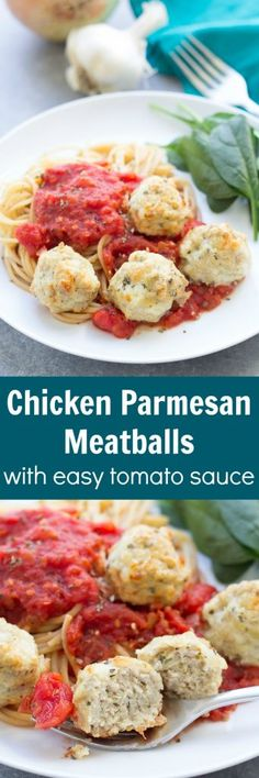 Chicken Parmesan Meatballs with Easy Tomato Sauce - Ready in 30 minutes! A healthy dinner the whole family will love! Good Healthy Recipes, Baby Food Recipes, Healthy Snacks, Healthy Eating, Yummy Recipes, Turkey Recipes, Beef Recipes, Chicken Recipes, Cooking Recipes