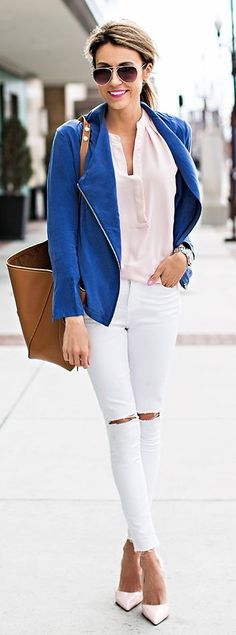 Blue Jacket Inspiration Outfit by Hello Fashion