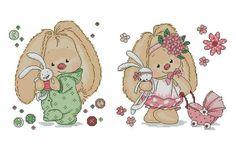 Cute Cross Stitch, Cross Stitch Patterns, Devin Art, Crochet Baby Mobiles, Cross My Fingers, Magnolia Stamps, Love Bear, Tatty Teddy, Cute Bunny