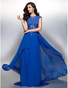 Ίσια Γραμμή Με Κόσμημα Ουρά Σιφόν Επίσημο Βραδινό Φόρεμα με Διακοσμητικά Επιράμματα με TS Couture®