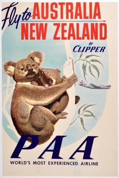 Australia, New Zealand - Pan American Airways (PAA) - Fly to Australia, New Zealand by Clipper - Koala Bears - Vintage Airline Travel Poster - Master Art Print - x 1950s Posters, Movie Posters, Fly To Australia, Posters Australia, Australian Vintage, Airline Travel, Air Travel, Pub, Vintage Travel Posters