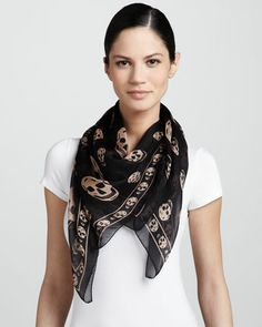 Skull-Print Chiffon Scarf, Black/Blush by Alexander McQueen at Neiman Marcus.