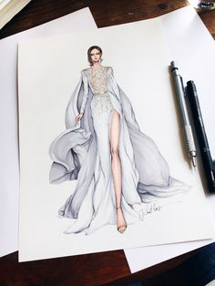 I love fashion and everything surrounding it, especially fashion sketches and illustrations! I really like browsing around looking for nice and inspiring fashion sketches. Dress Design Sketches, Fashion Design Drawings, Fashion Sketches, Fashion Drawing Dresses, Fashion Illustration Dresses, Fashion Dresses, Drawing Fashion, Fashion Sketchbook, Fashion Moda