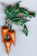 REJA RARE VINTAGE ORANGE & GREEN ENAMEL RHINESTONE DIMENSIONAL CARROTS PIN