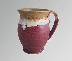 16 oz handmade pottery coffee mug - wavy red