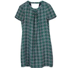 J. Crew dress Navy & green print dress with adorable cutout detail in back. J. Crew Dresses
