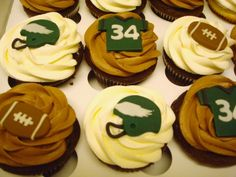 Philadelphia Eagles Football Cupcakes for tonight! Don't worry about stains from spills, the Harris Wood FinishLoc Protection system prevents stains from penetrating your flooring! Football Desserts, Football Cupcakes, Holiday Cupcakes, Cute Cupcakes, Cupcake Cookies, Chocolate Buttercream, Chocolate Cupcakes, Philadelphia Eagles Football, Sport Cakes